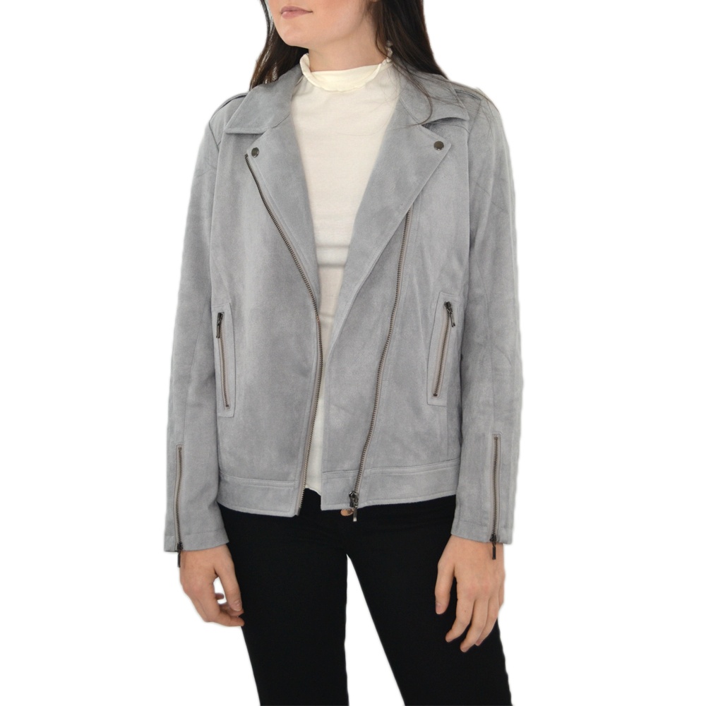 ASTARS Sierra Vegan Moto Jacket in Silver Grey