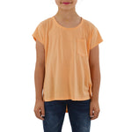 Weekend Vibes Girls Jersey Tail Tee in Orange