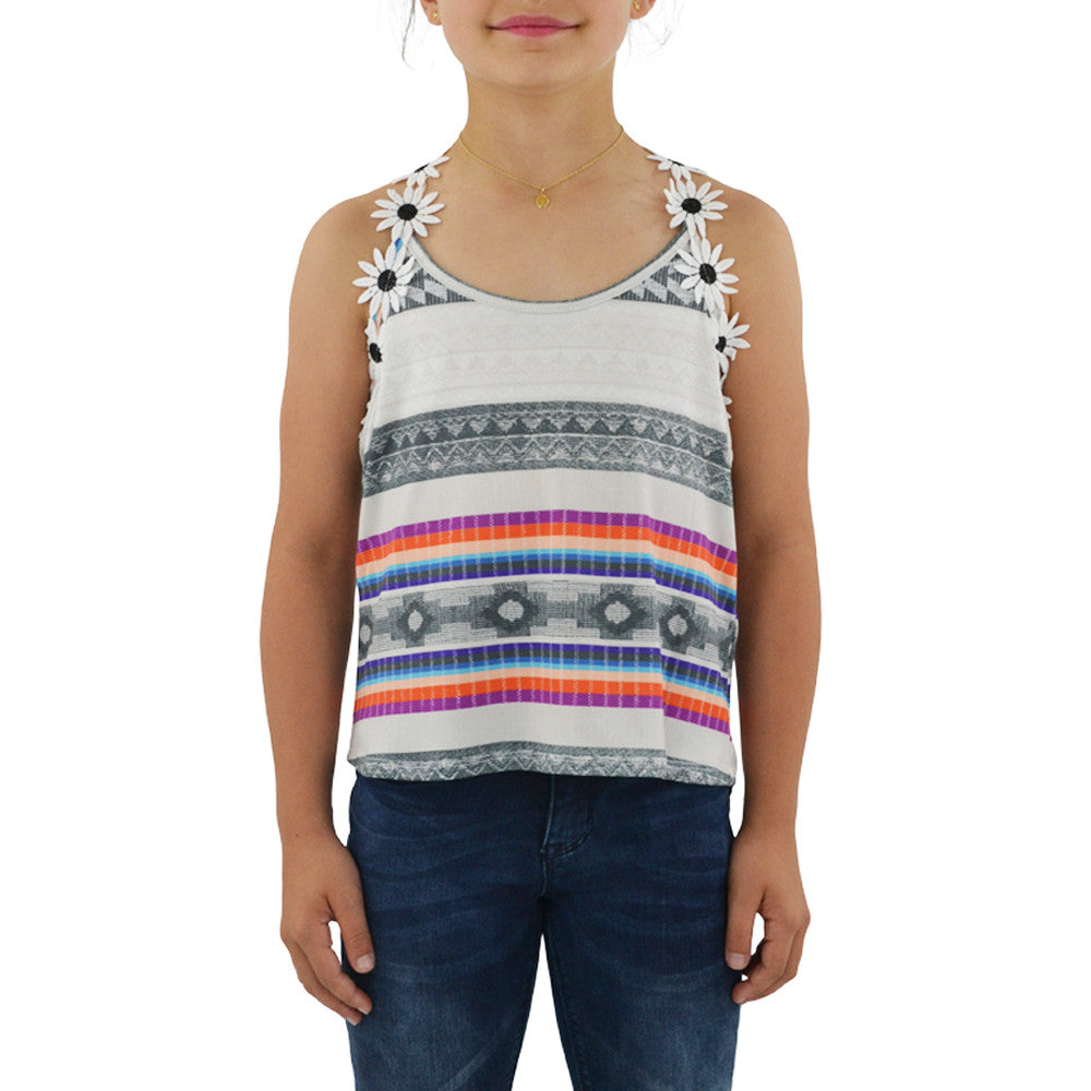 Weekend Vibes Girls Daisy Fields Tank in Multi
