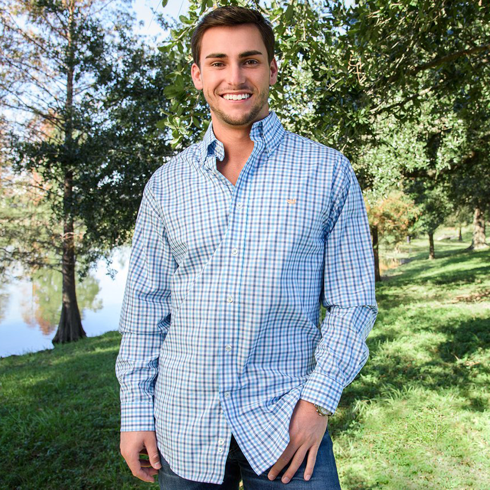 Mens Southern Marsh Evans Gingham Dress Shirt in Navy and Blue - Brother's on the Boulevard