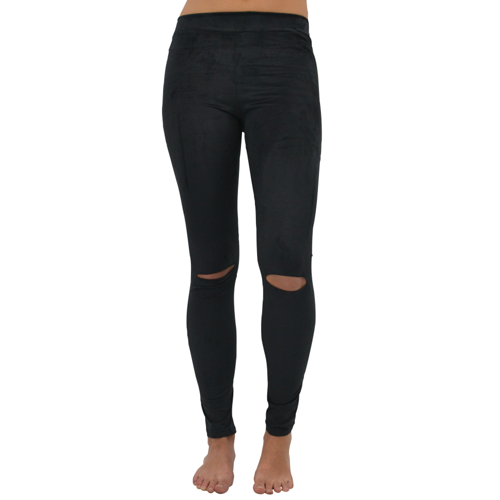 PPLA Dale Knit Faux Suede Pant in Black