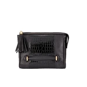 Womens Gigi New York Dana Crossbody Bag in Black Embossed Italian Croco - Brother's on the Boulevard