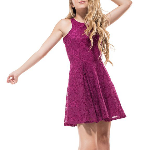 Miss Behave Girls Danielle Dress in Plum