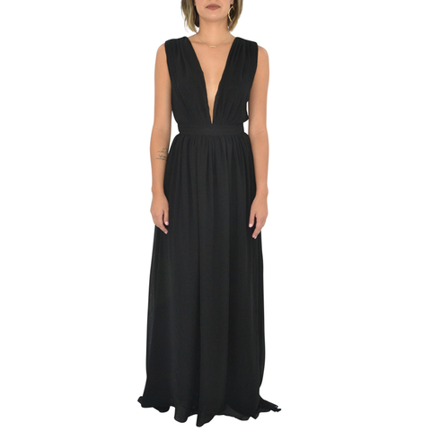 Womens Bishop & Young Plunging Neckline Maxi in Black - Brother's on the Boulevard