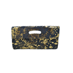 Cofi Leather Deeva Clutch in Navy Gold