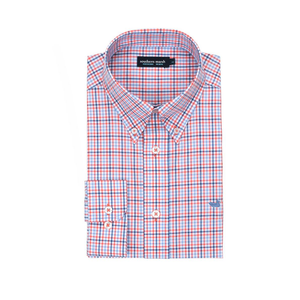 Mens Southern Marsh Dunlavy Check Dress Shirt in Navy and Bisque - Brother's on the Boulevard