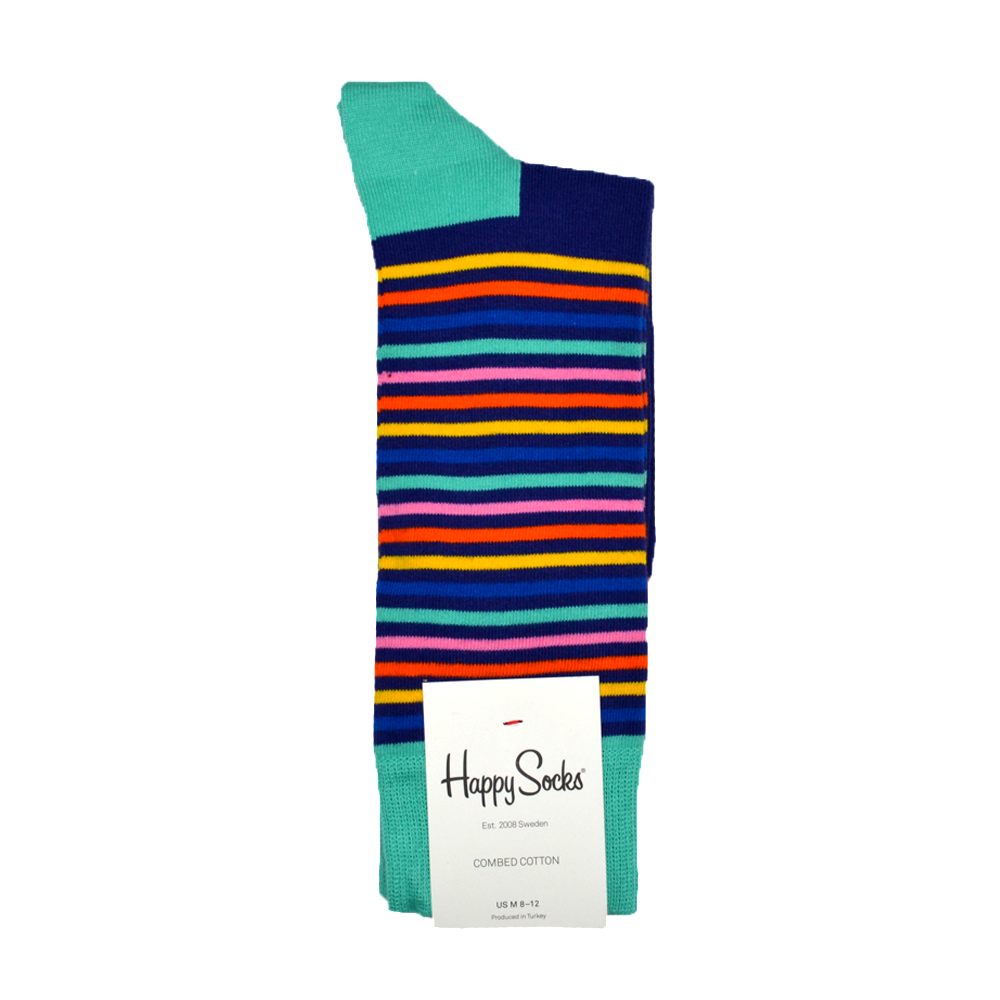 Happy Socks Easter Stripe Print in Aqua and Navy