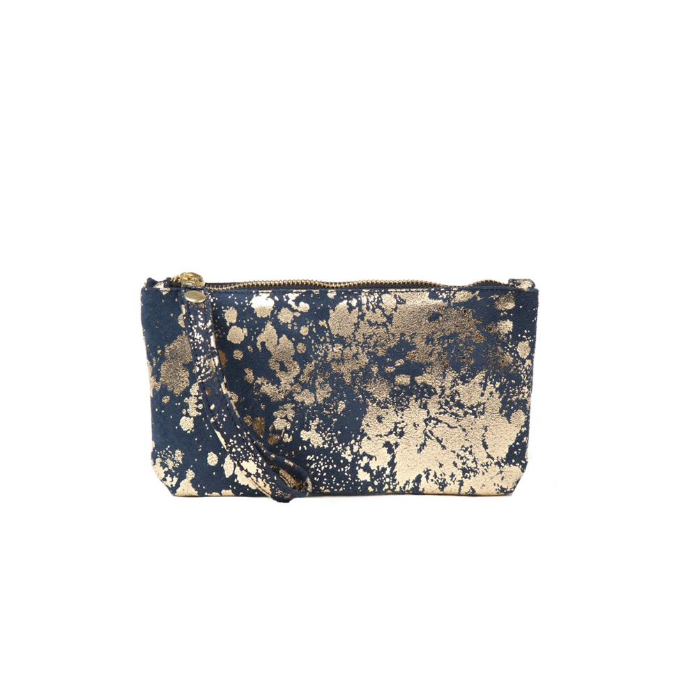 Womens Cofi Leather Ellie Wristlet in Navy Gold - Brother's on the Boulevard
