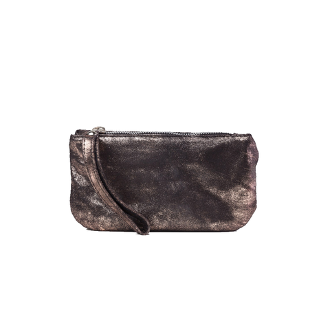 Womens Cofi Leather Ellie Wristlet in Rose Gold Black - Brother's on the Boulevard