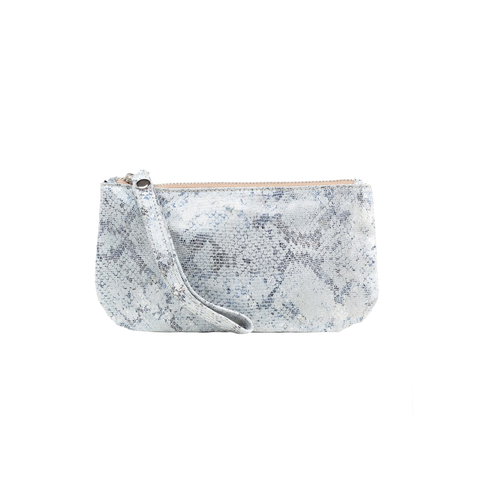Womens Cofi Leather Ellie Wristlet in White Blue - Brother's on the Boulevard