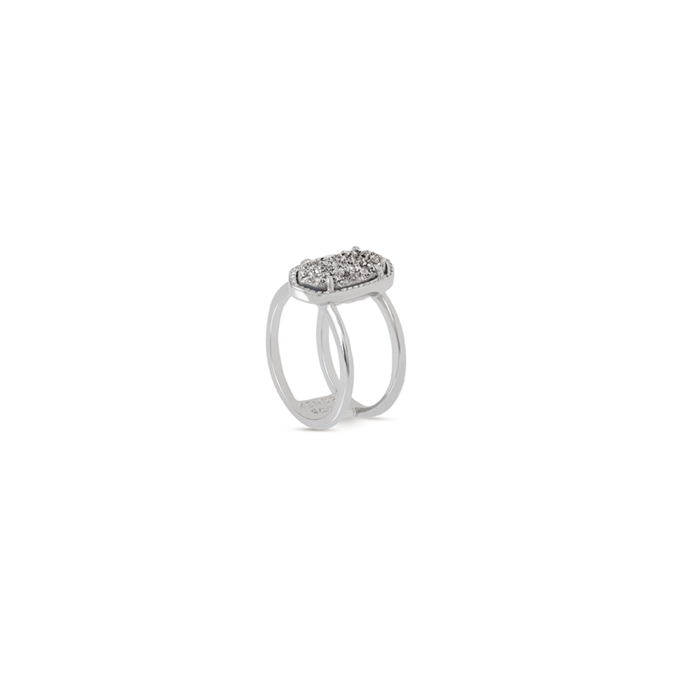 Womens Kendra Scott Elyse Silver Ring in Platinum Drusy - Brother's on the Boulevard