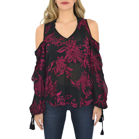Fifteen Twenty Embroidered Cold Shoulder Top In Ruby