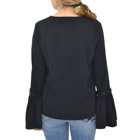 Womens Fifteen Twenty Bell Sleeve top In Black - Brother's on the Boulevard