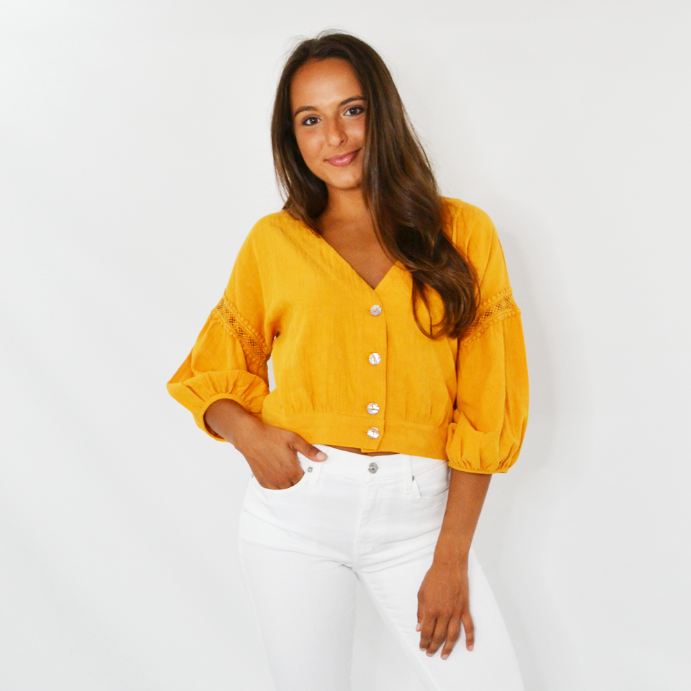 Rouge Bianca Lace Crop Top in Mustard