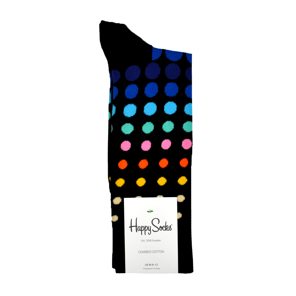 Mens Happy Socks Faded Disco Dot Print in Black - Brother's on the Boulevard