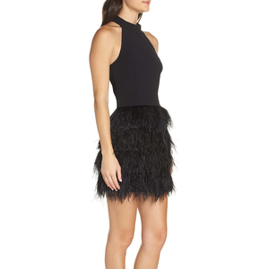 Womens Catherine Kate Feather Dress in Black - Brother's on the Boulevard