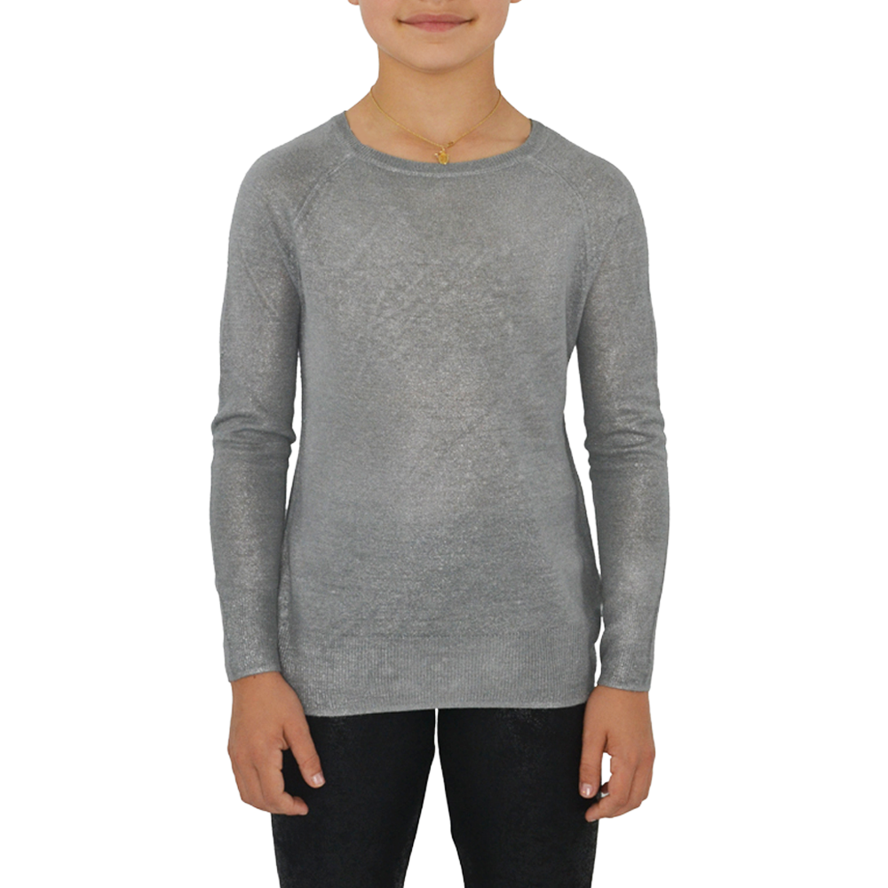 Splendid Girls Foiled Sweater in Silver