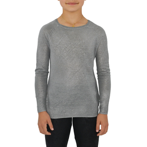 4073f4cb6bf Tween Girls Splendid Girls Foiled Sweater in Silver - Brother s on the  Boulevard