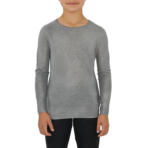 Tween Girls Splendid Foiled Sweater in Silver