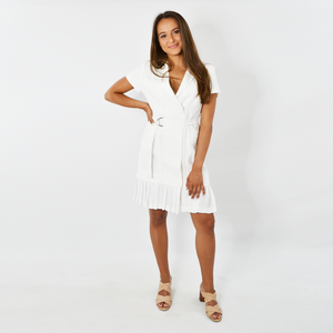 Womens Forest Lilly Satin Back Dress in Off-White - Brother's on the Boulevard