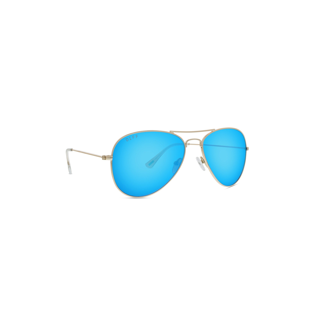 Womens DIFF Eyewear Cruz Aviator Sunglasses in Gold/Blue Mirror - Brother's on the Boulevard