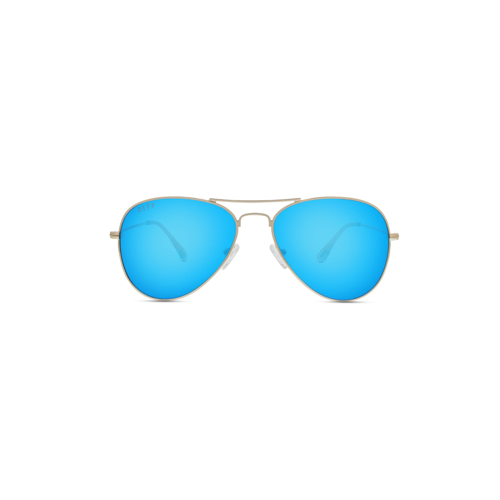 DIFF Eyewear Cruz Aviator Sunglasses in Gold/Blue Mirror