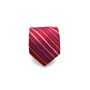Mens Giannini Diagonal Stripe Necktie in Red - Brother's on the Boulevard