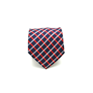 Mens Giannini Perpendicular Stripe Necktie in Blue and Red - Brother's on the Boulevard