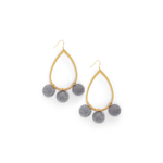Ever Alice Studio Pom Pom Hoops in Gray