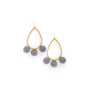 Womens Ever Alice Studio Pom Pom Hoops in Gray - Brother's on the Boulevard