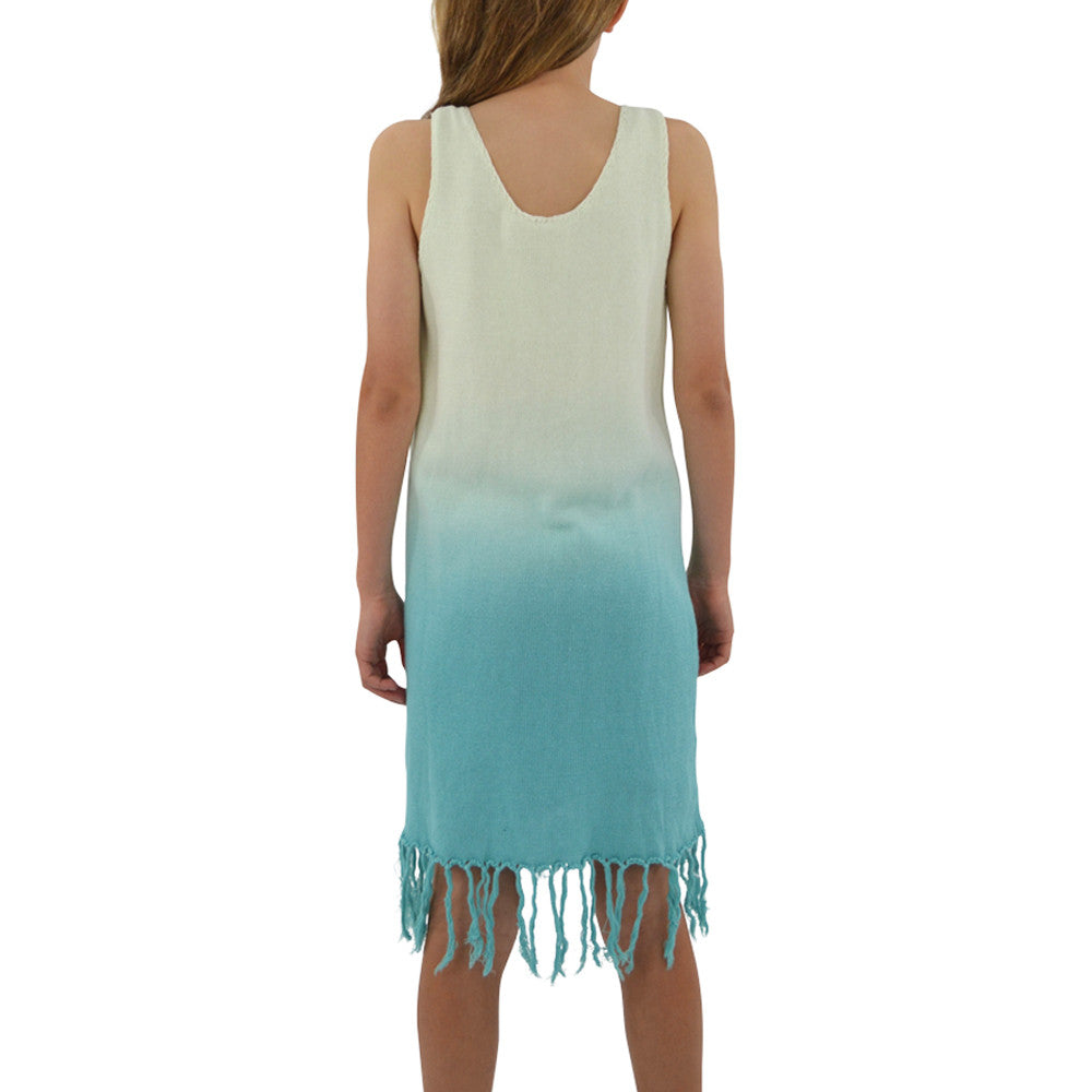 Tween Girls Weekend Vibes Girls Crochet Fringe Dress in Aqua Ombre - Brother's on the Boulevard