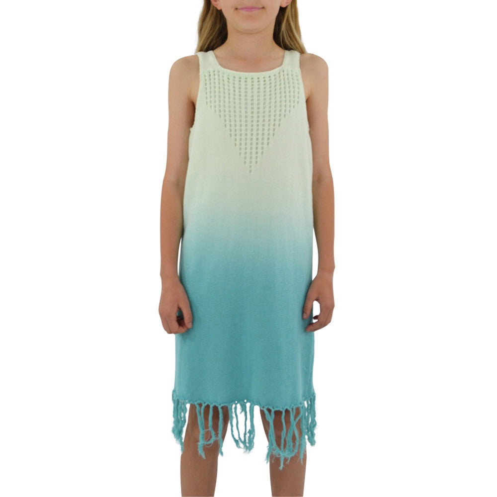 Weekend Vibes Girls Crochet Fringe Dress in Aqua Ombre