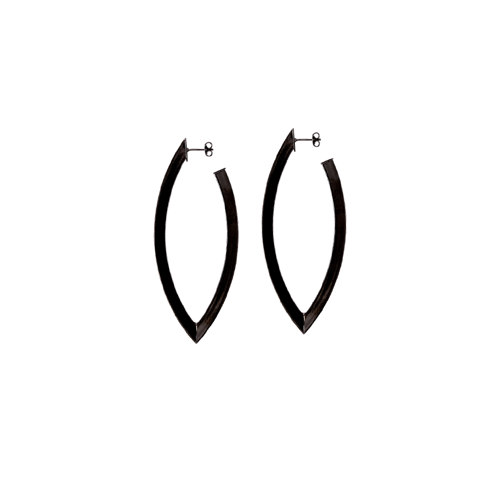 Womens Sheila Fajl Small Alba Hoop Earring in Gunmetal - Brother's on the Boulevard