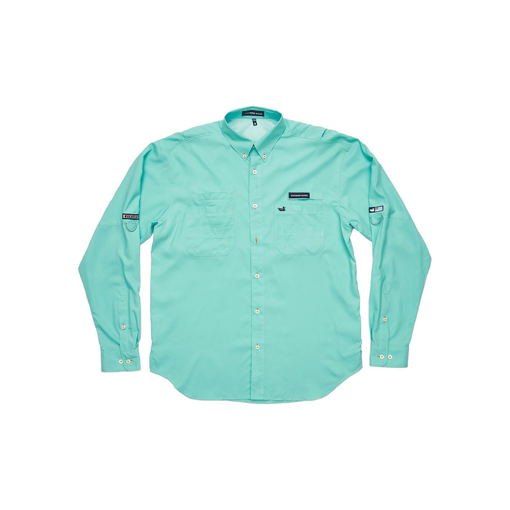 Mens Southern Marsh Harbor Cay Long Sleeve Shirt in Antigua Blue - Brother's on the Boulevard
