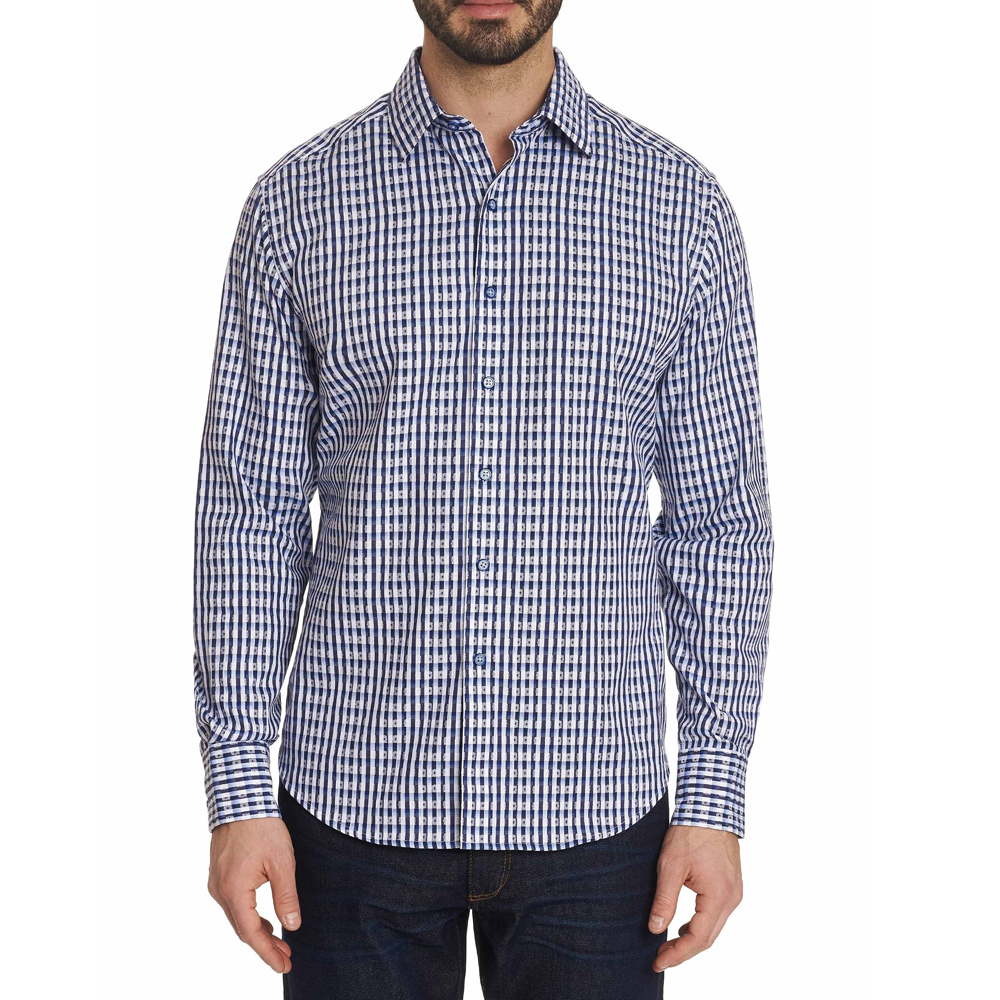 Mens Robert Graham Hackman Graphic Sport Shirt in Blue - Brother's on the Boulevard