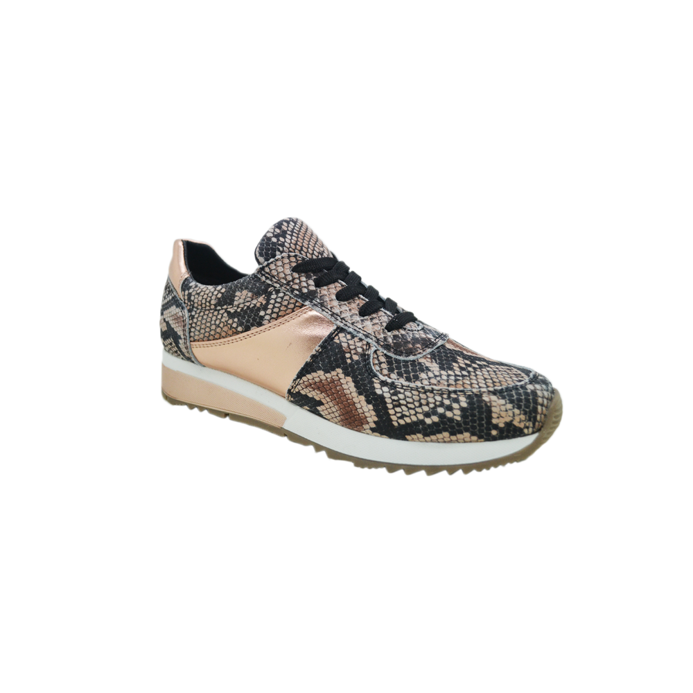 Womens Lace Up Leather Fashion Sneaker in Rose Gold Snake - Brother's on the Boulevard