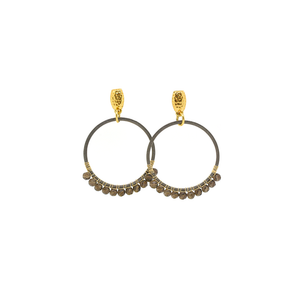 Womens Nicole Leigh Harper Gunmetal Drop Earring in Grey Agate - Brother's on the Boulevard