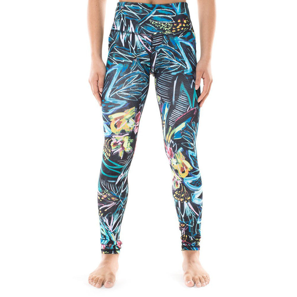 Miss Behave Girls Hope Tropical Activewear Leggings in Black and Multi