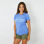 Southern Marsh Danielle V-Neck Tee in Oxford Blue