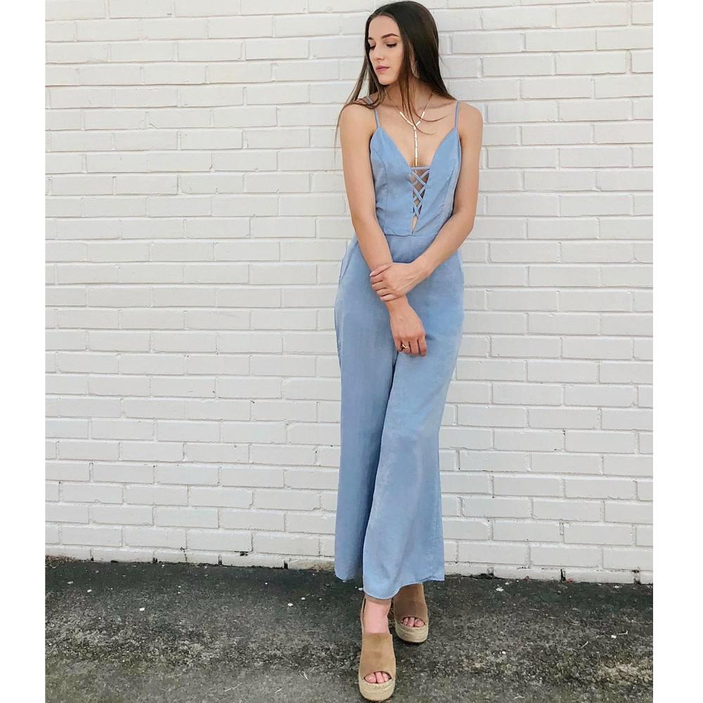 PPLA Arlene Woven Jumpsuit in Light Blue
