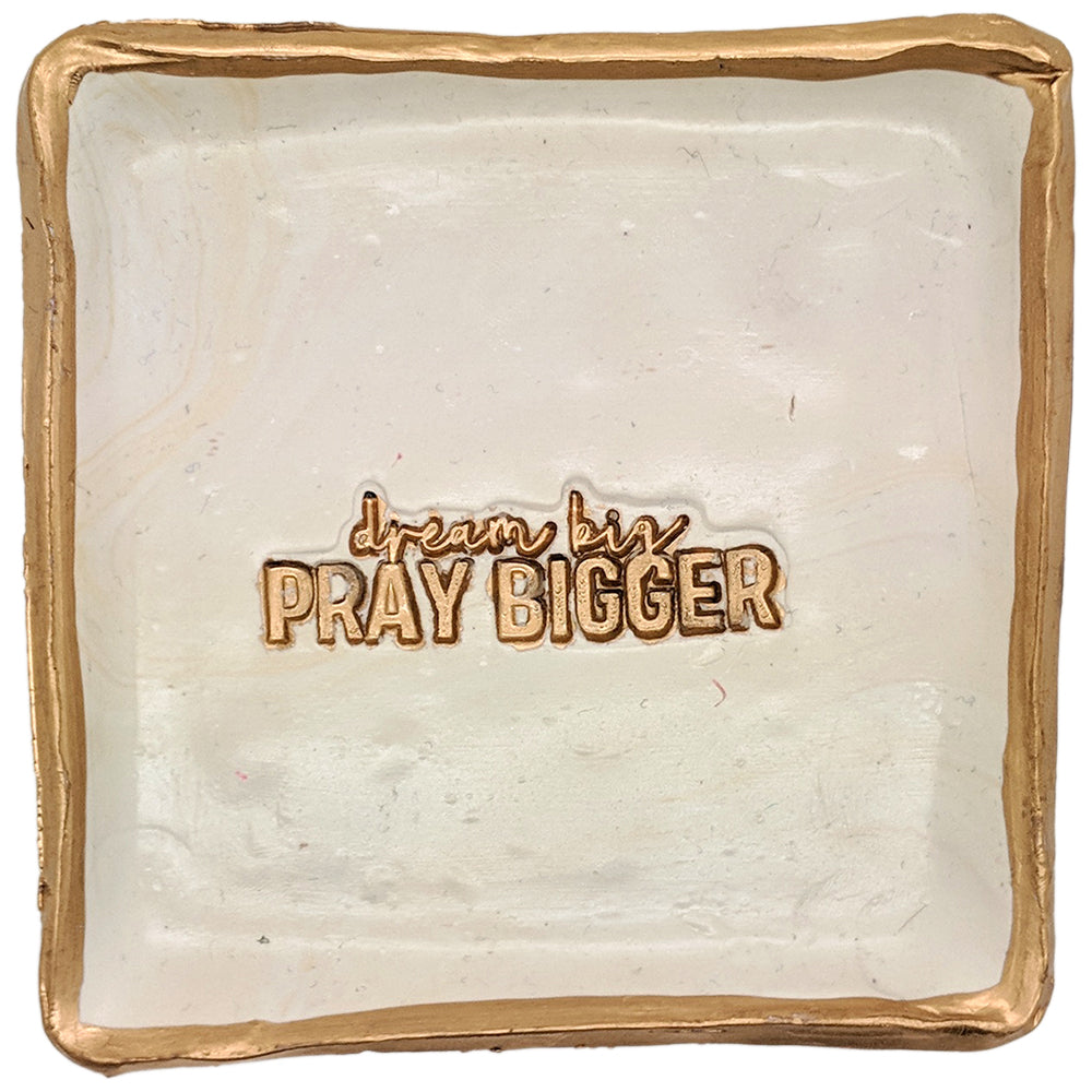Claremont Clays Pray Bigger Square Tray in Hazelnut