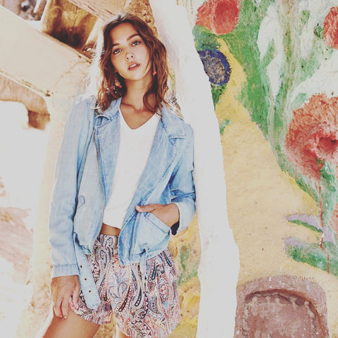 Fifteen Twenty Chambray Denim Moto Jacket