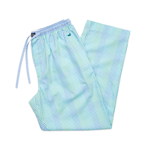 Mens Southern Marsh Savannah Gingham Lounge Pant in Antigua Blue and Teal - Brother's on the Boulevard