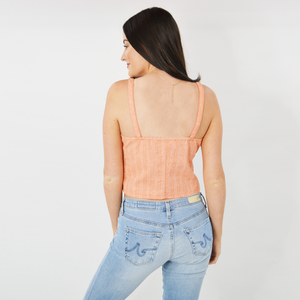 Womens Weekend Vibes Lulu Ribbed Faux Button Tank in Coral - Brother's on the Boulevard
