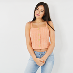 Weekend Vibes Lulu Ribbed Faux Button Tank in Coral
