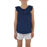 Splendid Girls Star Peasant Top in Indigo