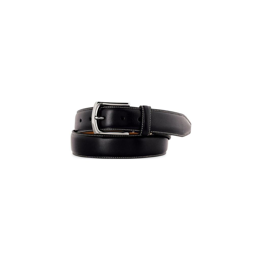 Johnston & Murphy Top Stitched Leather Belt in Black