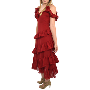 Womens Rouge Solid Chiffon Kang Kang Dress - Brother's on the Boulevard