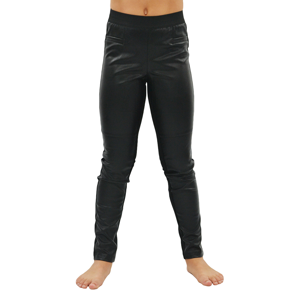 Ella Moss Girls Jacey Faux Leather Pants in Black