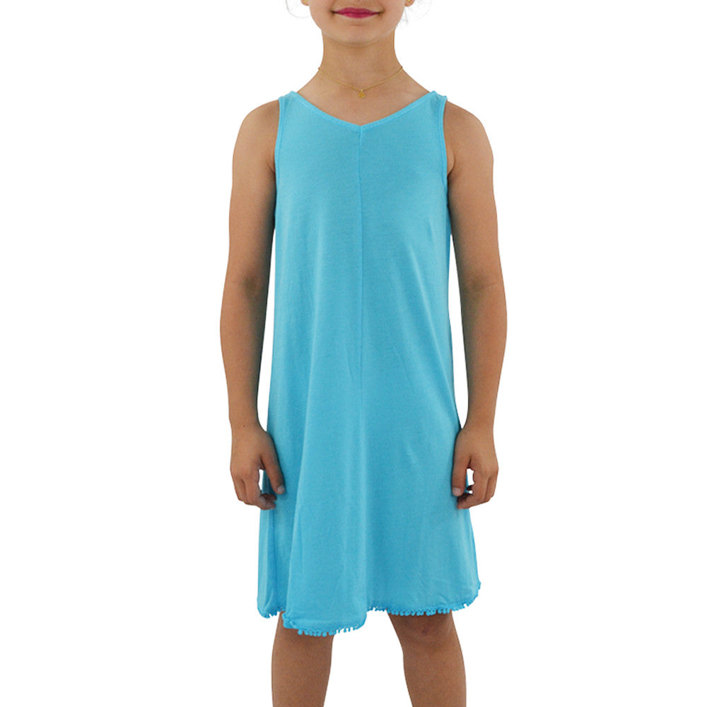 Weekend Vibes Girls Jersey V-Back Dress in Light Blue